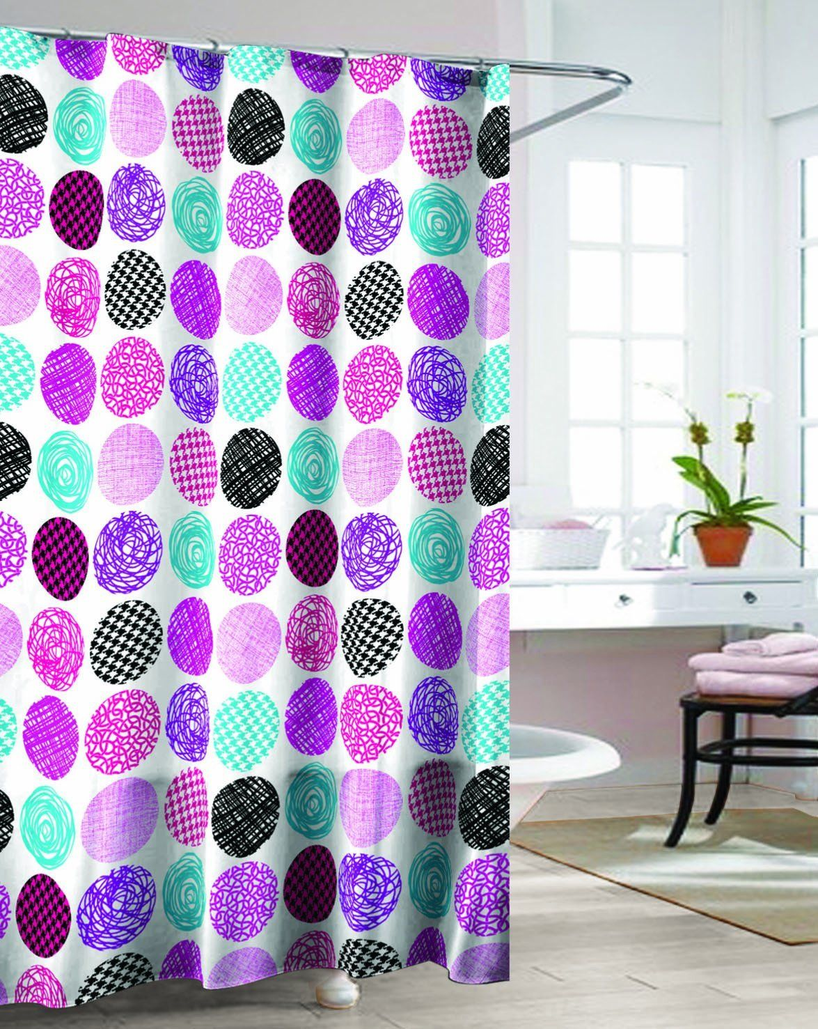 Geometric Patterned Shower Curtain Fuschia With Images