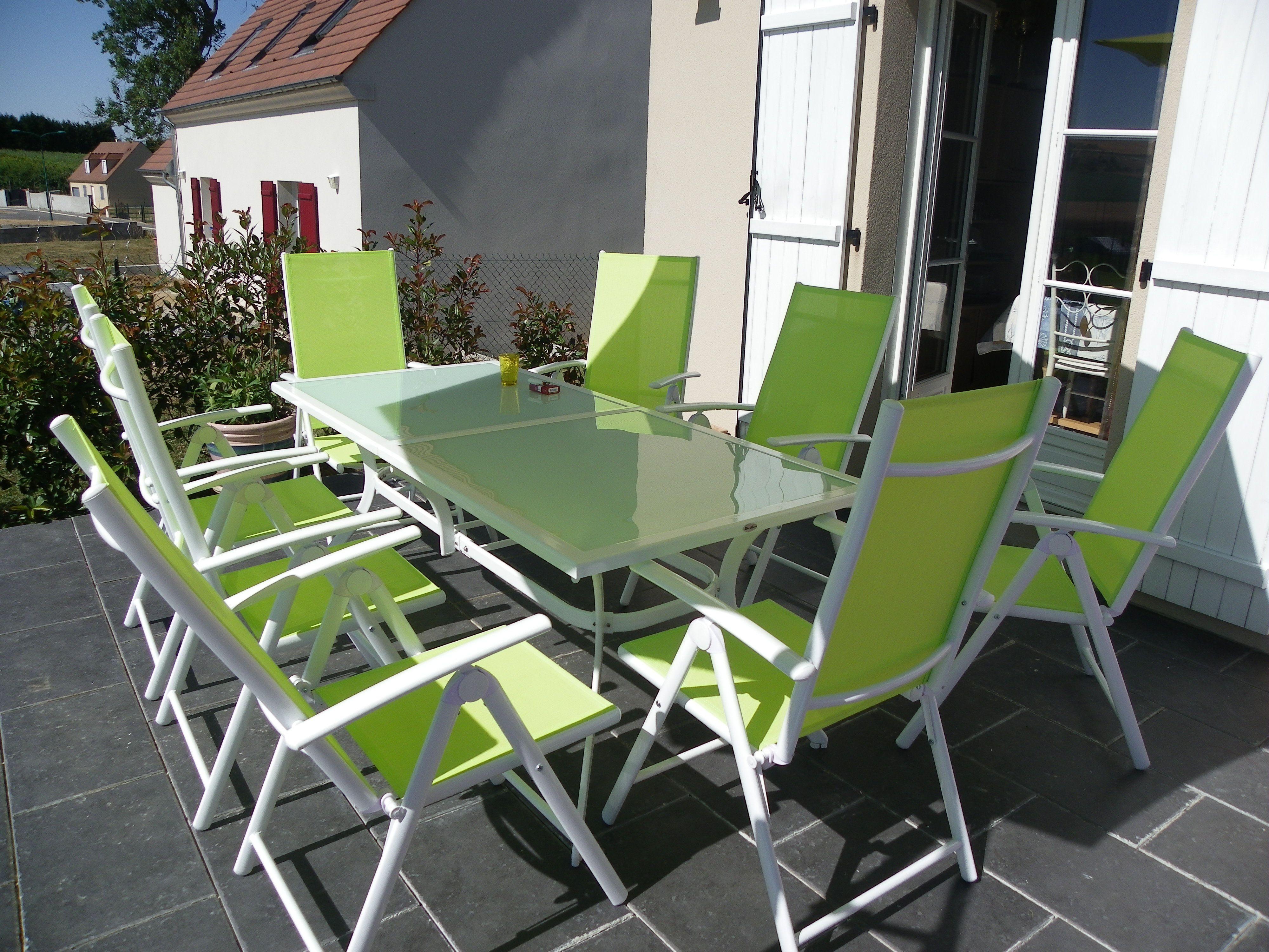 Naevia : table de jardin 8 places en aluminium et textilène #jardin ...