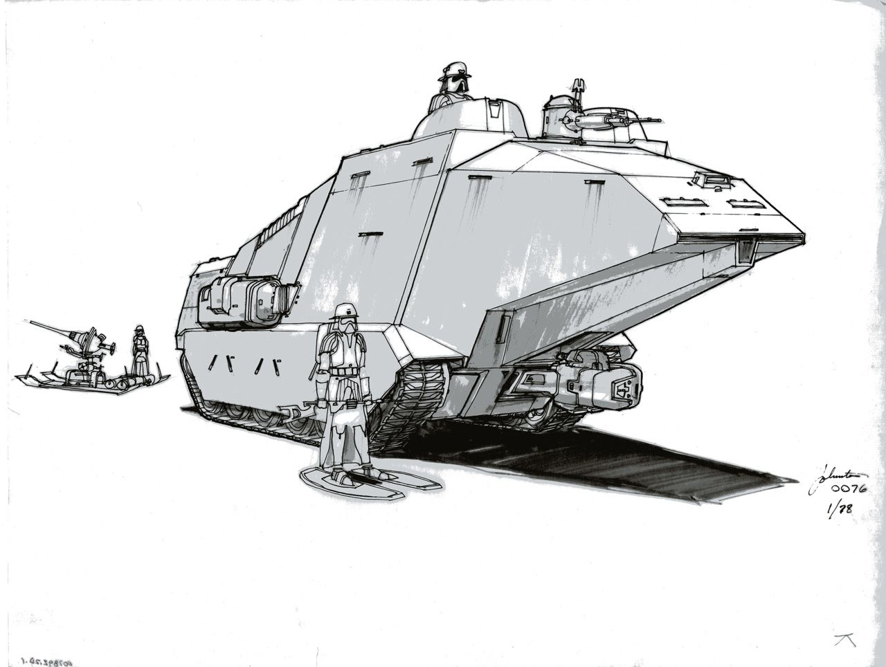 This early tank concept by Joe Johnston eventually lead to the iconic AT-AT design.