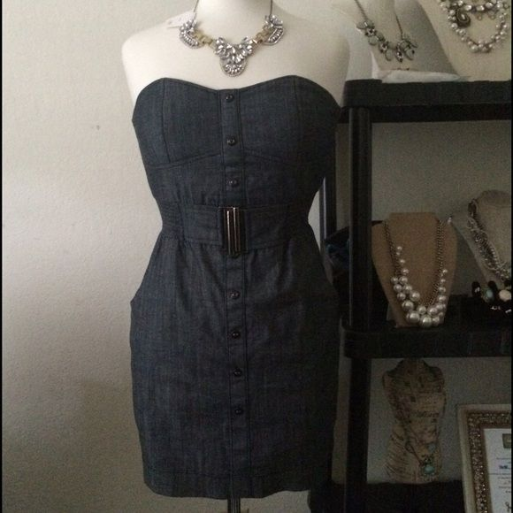 """Selling this """"Bundle Jean Dress & Crystal Statement Necklace"""" in my Poshmark closet! My username is: gracas888. #shopmycloset #poshmark #fashion #shopping #style #forsale #Boutique #Dresses & Skirts"""