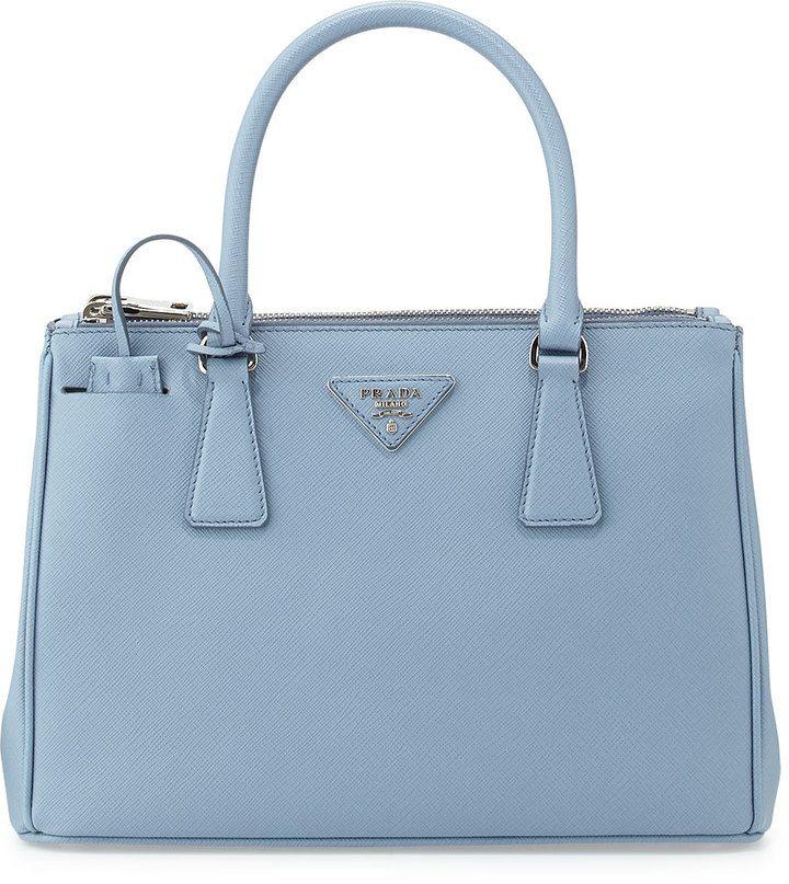 042fcb2d Prada Saffiano Lux Double-Zip Tote Bag, Light Blue (Astrale ...
