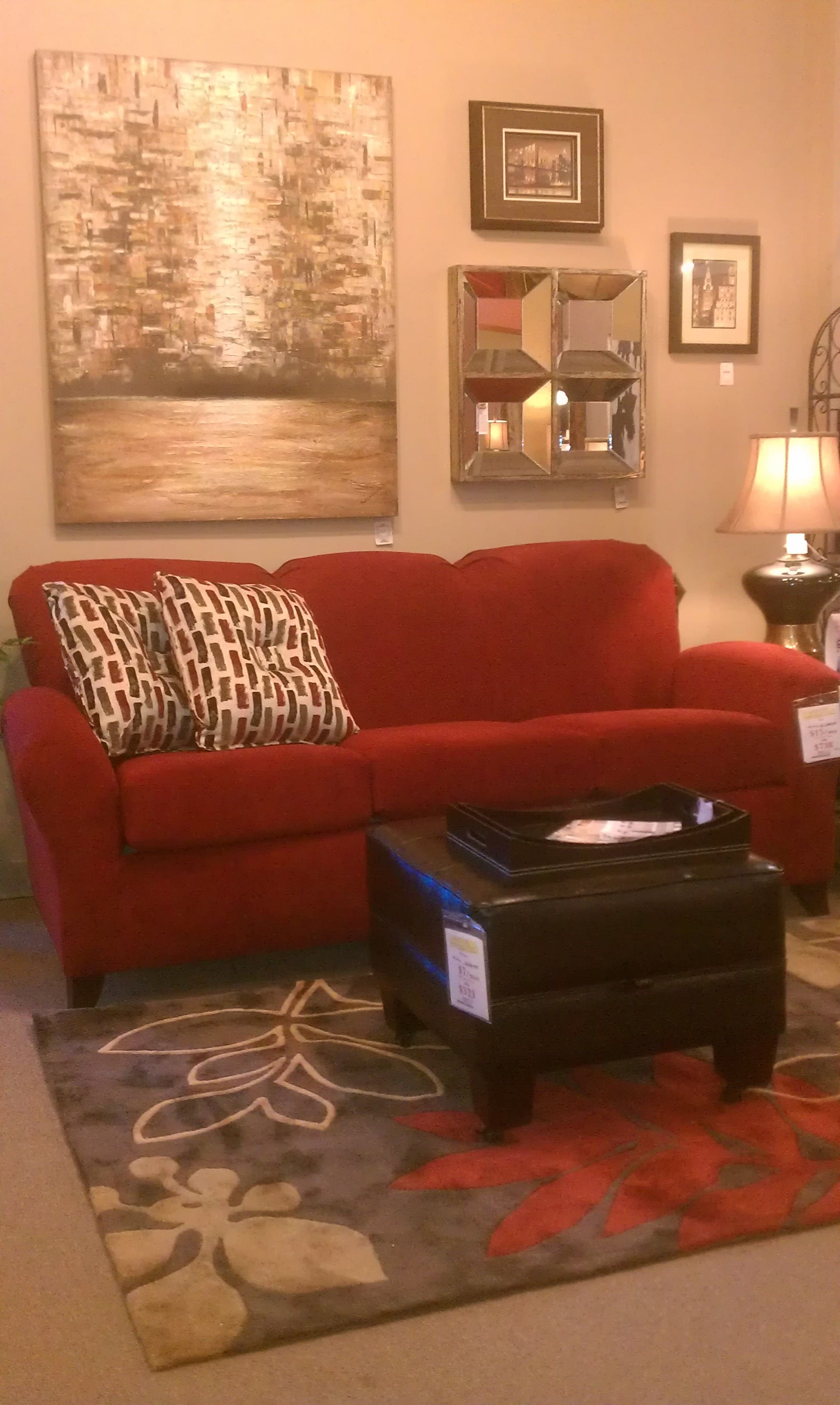England Red Sofa Made In America Surya Rug Pulls The Look Together Discovery Furniture Topeka Lawrence Ks