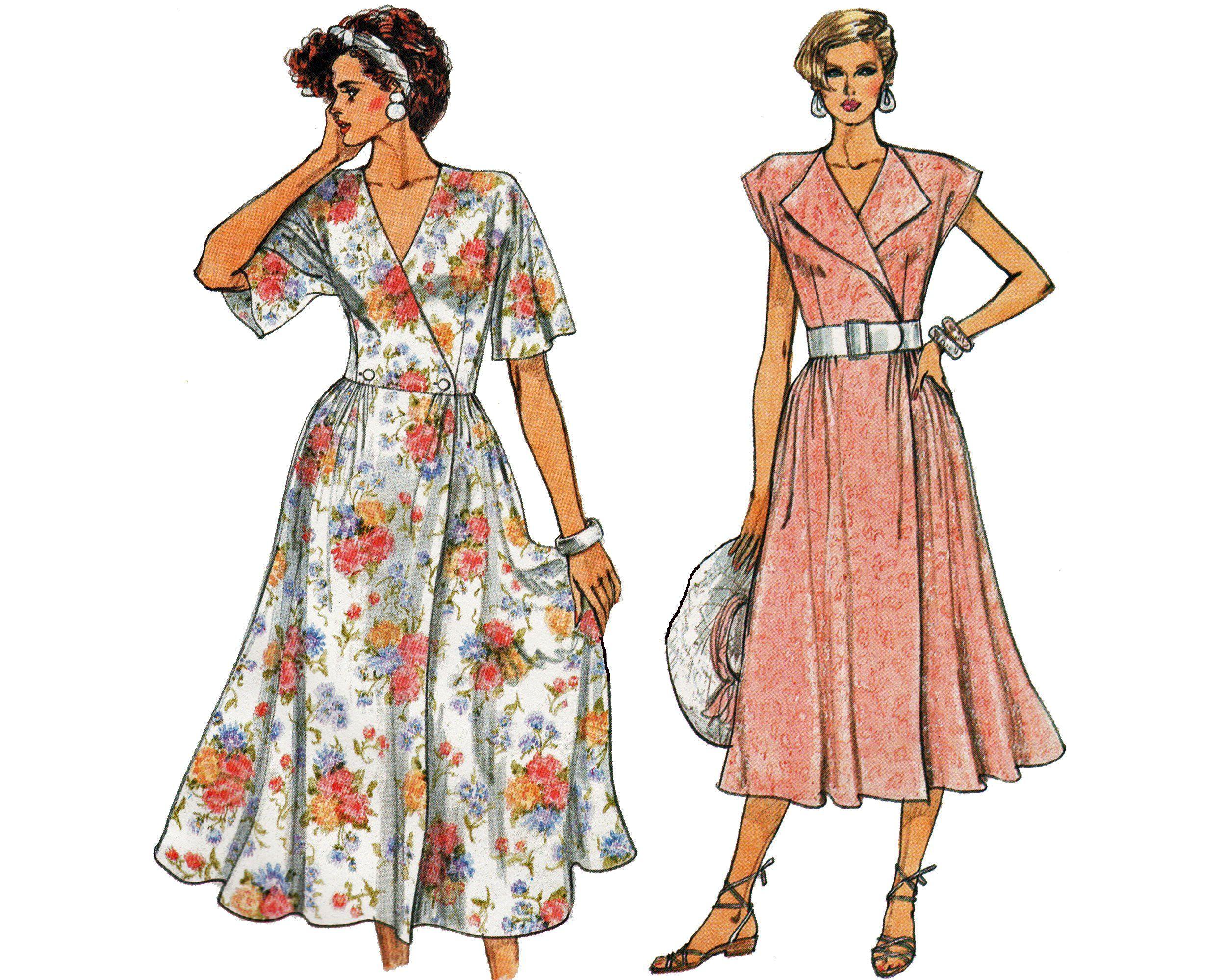 Retro 80s Wrap Dress Pattern Size 6 8 10 Sewing Pattern Etsy [ 2000 x 2500 Pixel ]