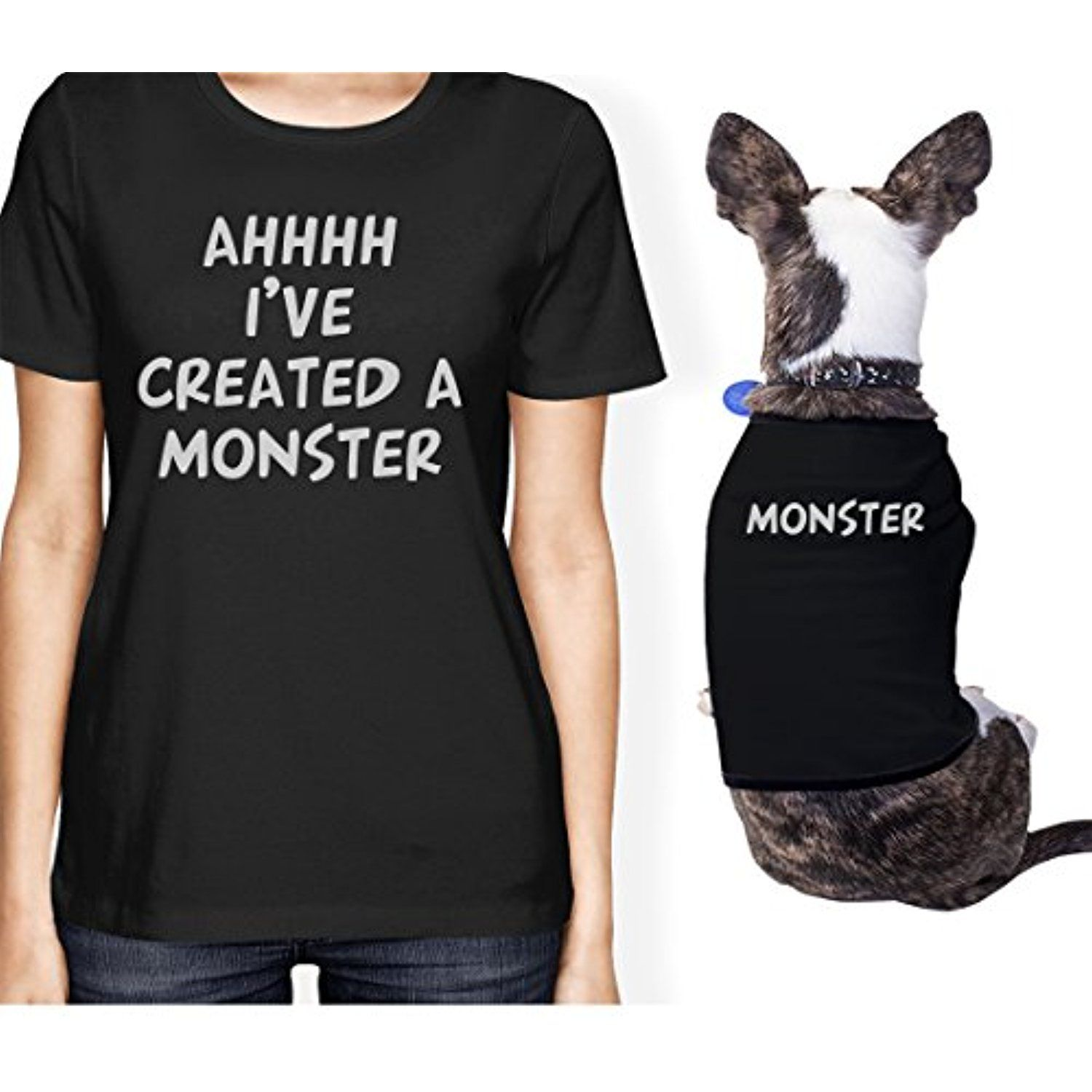 Created A Monster Small Dog And Owner Matching Shirts Dog Lovers Onwer M Pet M Be Sure To Check Out This A Matching Shirts Shirts T Shirts For Women