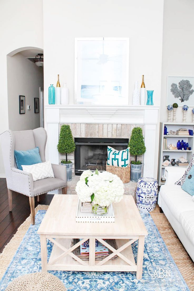 Summer Home Tour With Fresh Blue and White Color Scheme   Living ...