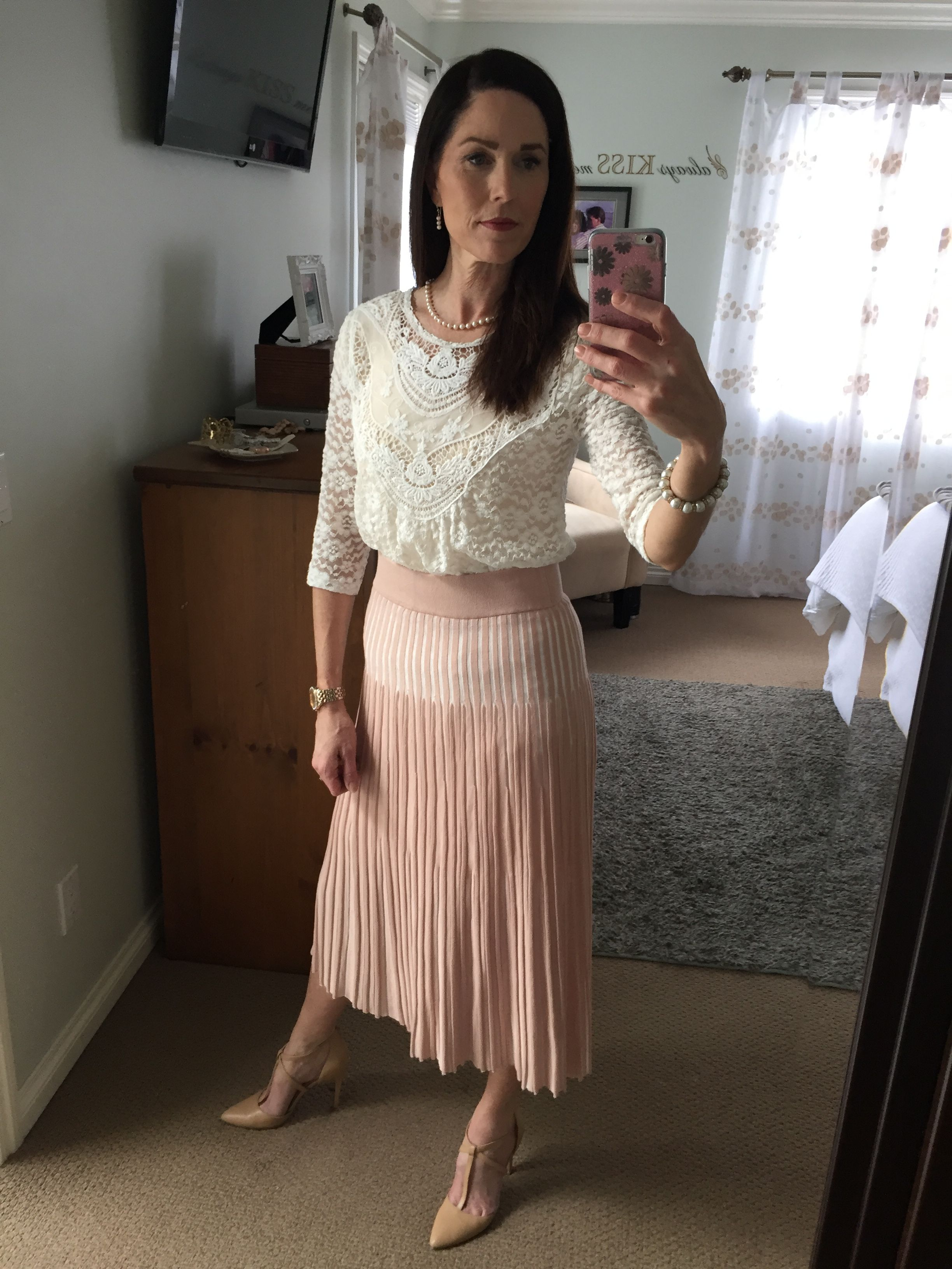 f5a0d3207660 Modest fashion; midi skirt; denim ; Sunday best; LDS fashion; H&M blush