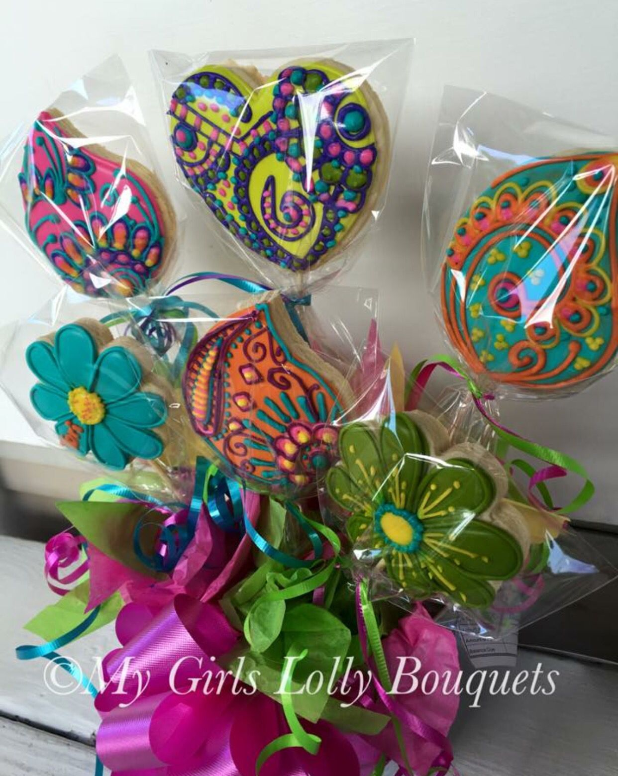 Vera Bradley Decorated Cookie Bouquet | My Girls Lolly Bouquets ...