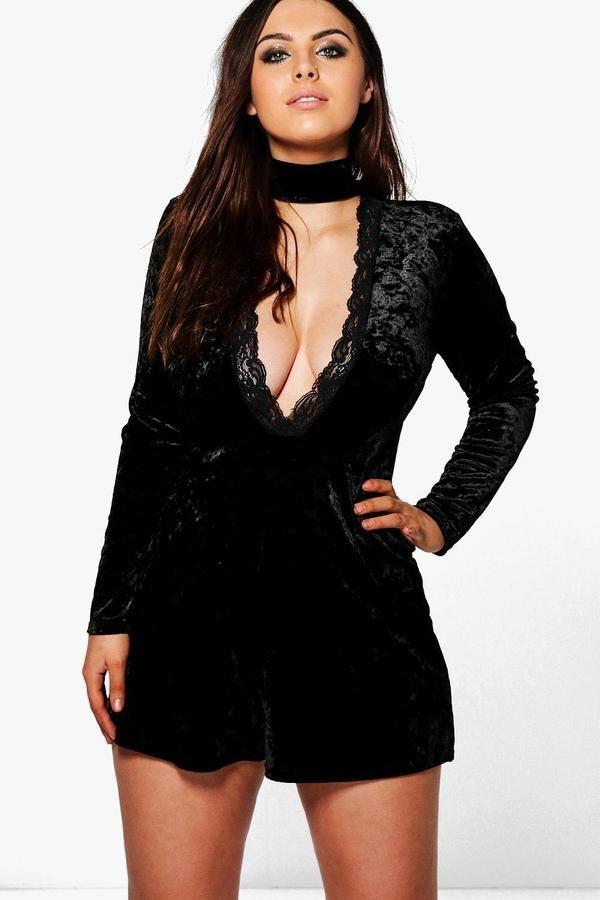 73df2aeaebc98 boohoo Plus Nicola Velvet Plunge Playsuit | Products | Fashion ...
