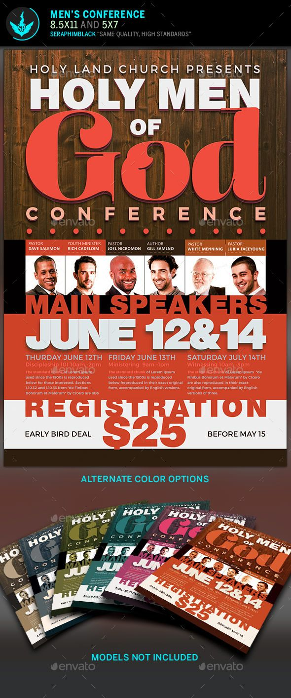 Men Of God Conference Flyer Template  Flyer Template Psd
