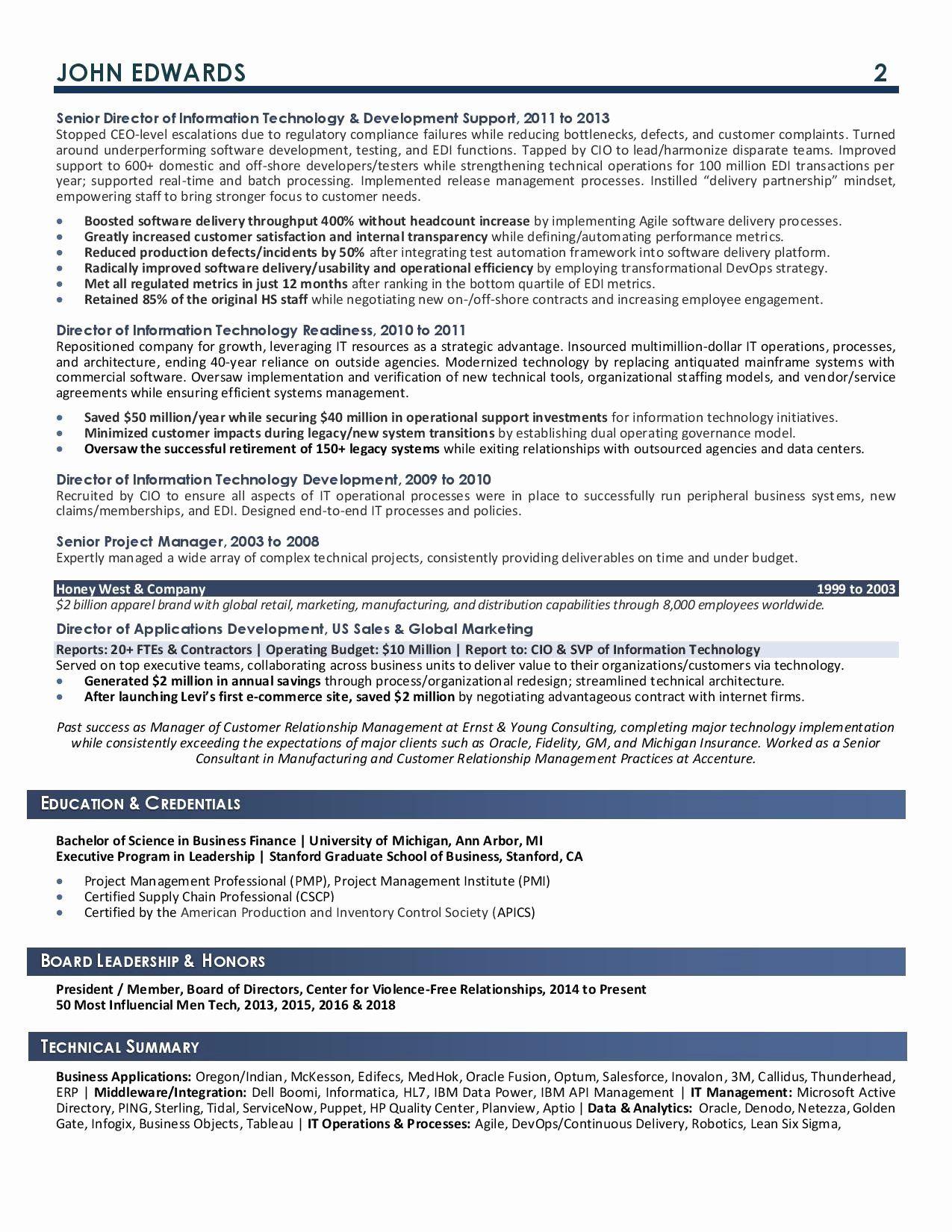 20 Chief Information Officer Resume in 2020 Job resume
