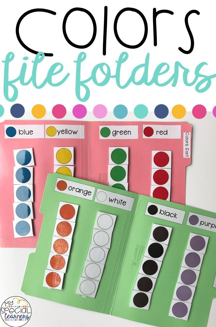 Colors File Folder Activities for Special Education | File folder ...