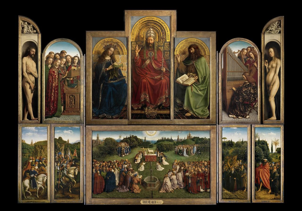 Ghent Altarpiece / Adoration of the Mystic Lamb / The Lamb of God / Dutch: Het Lam Gods // 1432 // Hubrecht and Jan van Eyck// Saint Bavo's Cathedral // Ghent, Belgium // Sint-Baafskathedraal Gent in Flanders, foto's Hugo Maertens, Dominique Provost // #Jesus #Christ