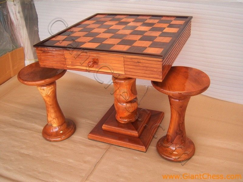 Beau Unique Furniture Pieces | This Stunning Package Contains A Teak Chess Set,  Checkers Set, Table .