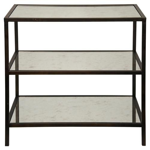 Randy Modern Black Metal Antiqued Mirror Shelf 3 Tier Side Table Metal Side Table Furniture Table