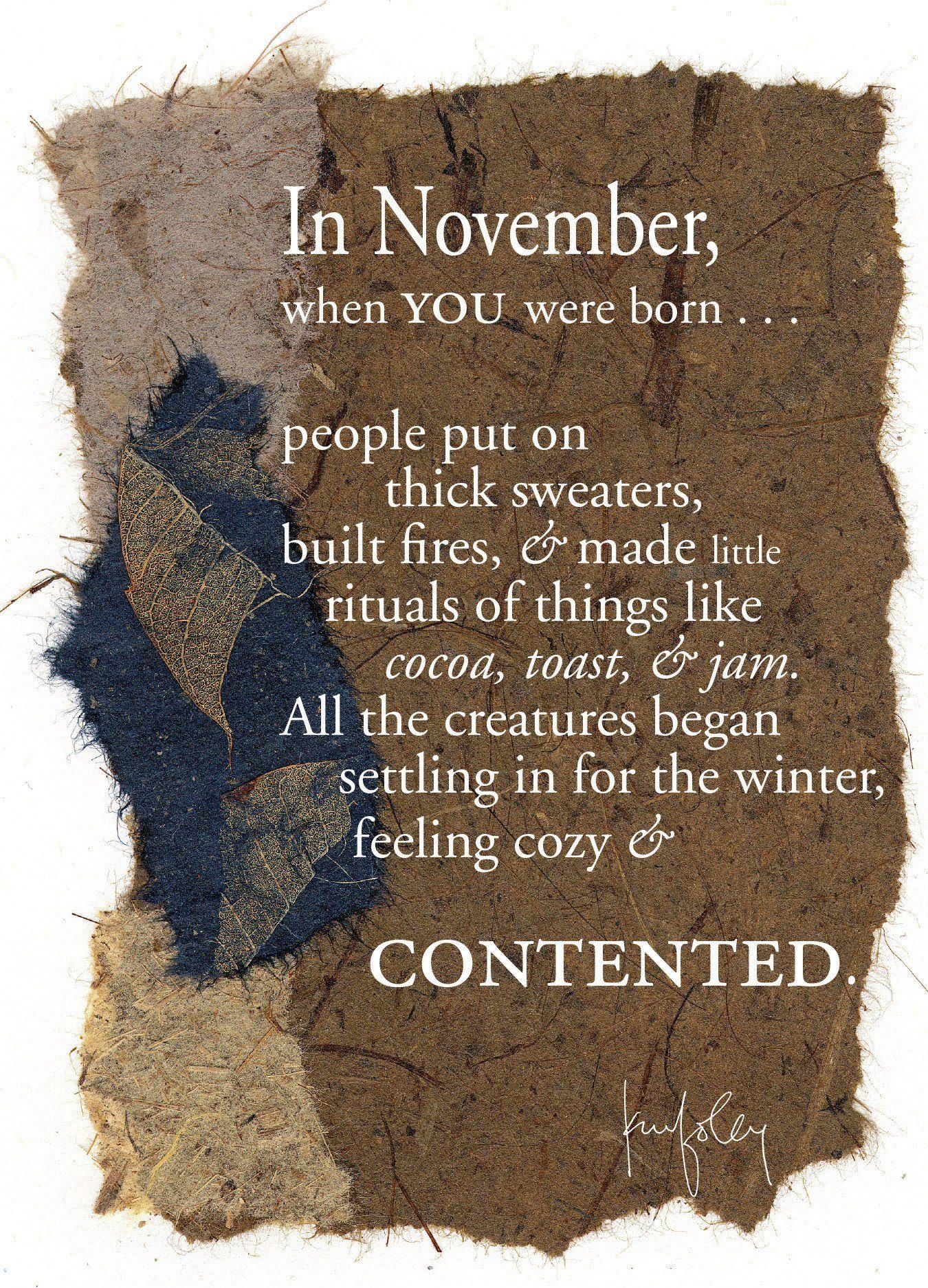 BD131 November Birthday November birthday, November born