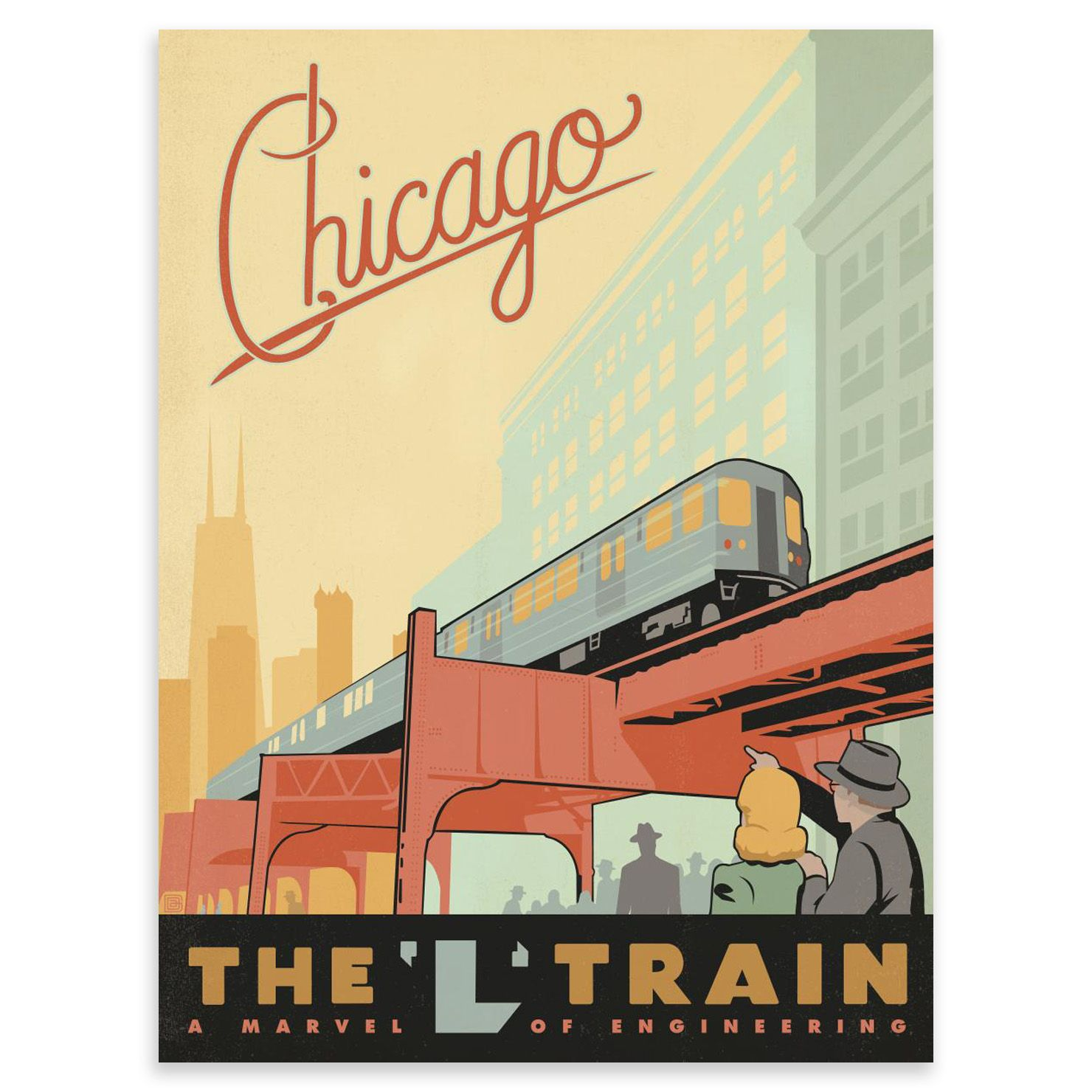 ACHICA | Lámina Chicago L-Train de Vintage USA, 45 x 60 cm | Rail ...