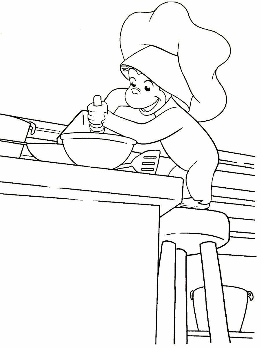 Coloring book curious george - Curious George Having Fun Baking In The Kitchen Printable Coloring Book Page For Kids