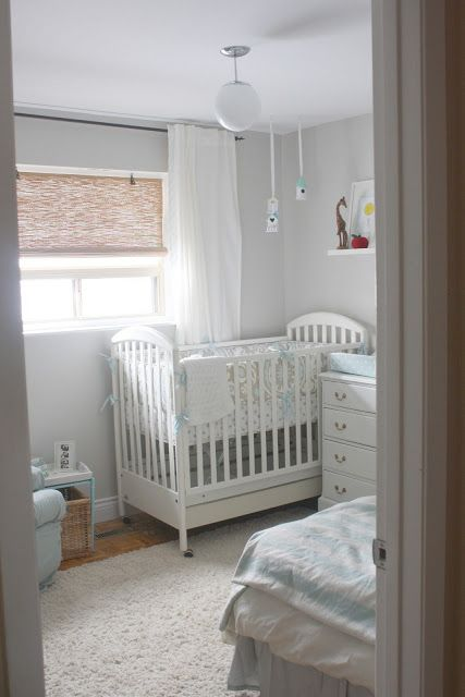 small space nursery. Love the wall color - Behr Irish Mist | Baby ...