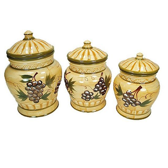 Merveilleux 3 Piece Ceramic Canister Set Grape Design Kitchen Storage, Farmhouse Kitchen  Canisters, Kitchen Canisters