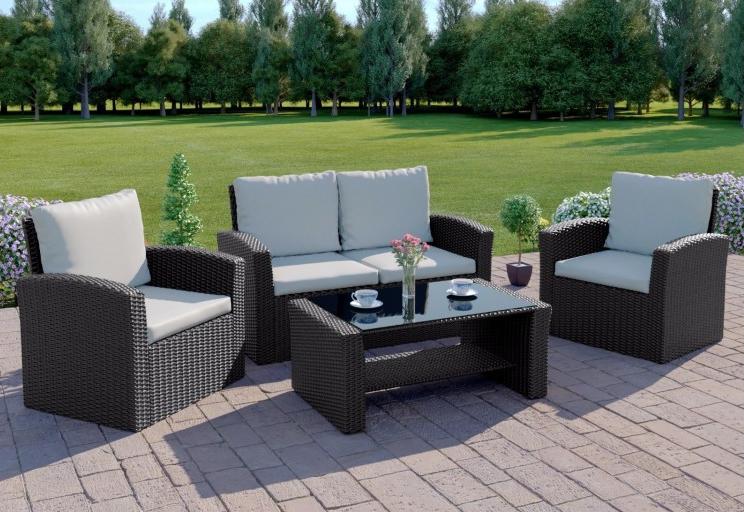 Black Rattan Weave Garden Patio Sofa Table Set And Cover