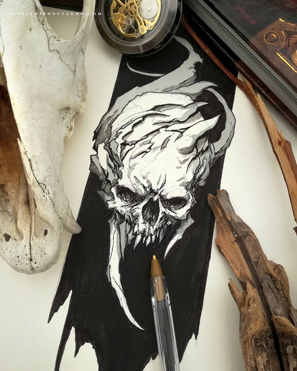 Skull drawing by Dibujante Nocturno (With images) | Skull ...