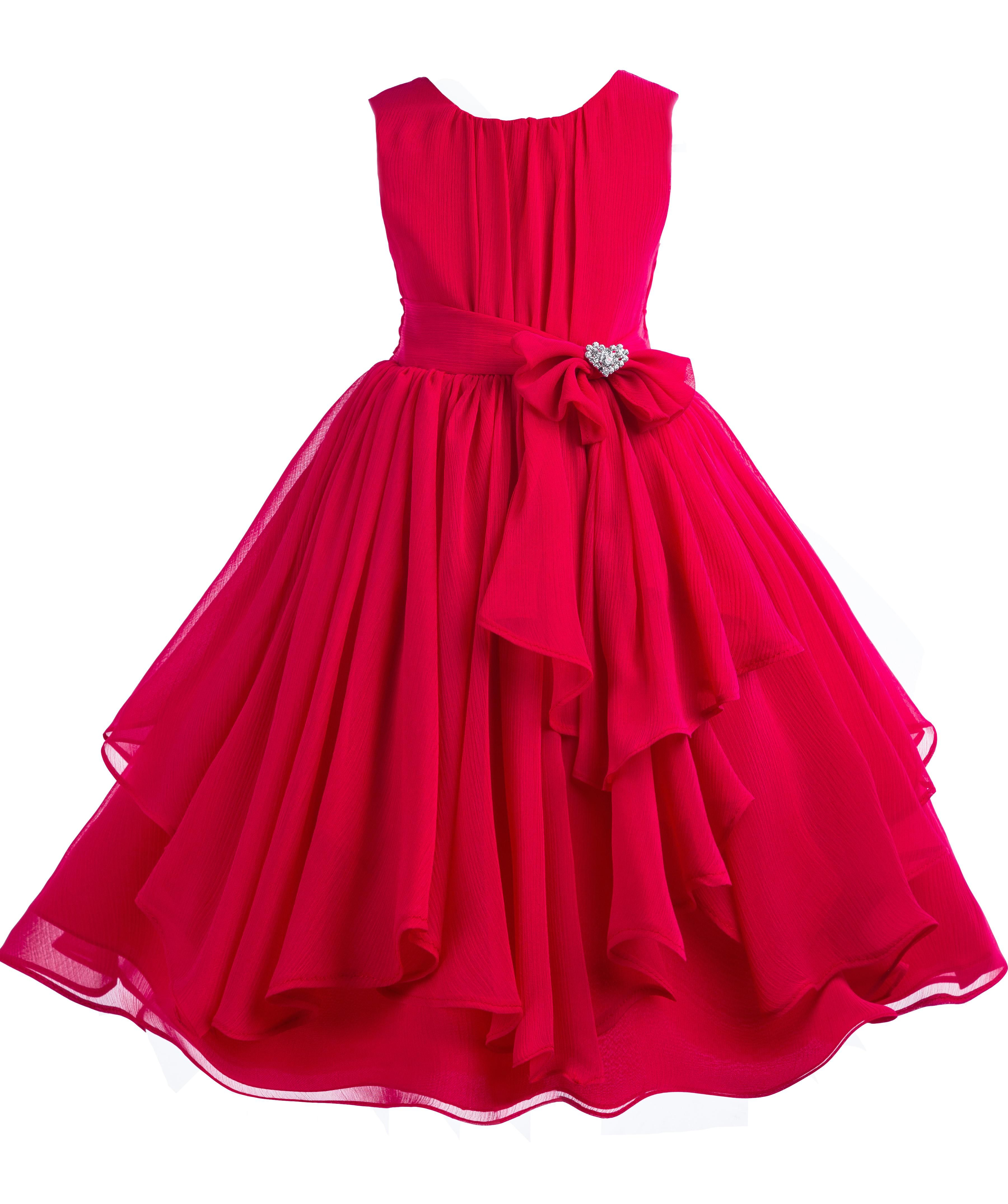 Ekidsbridal Elegant Yoryu Chiffon Christmas Red Ruched Bodice Rhinestone Flower Girl Dress Toddler Bridesmaid 162s