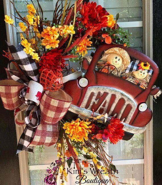 Photo of Fall Truck Wreath, Fall Wreath, Fall Wreath, Scarecrow Wreath, Sunflower Wreath, Fall Decor …