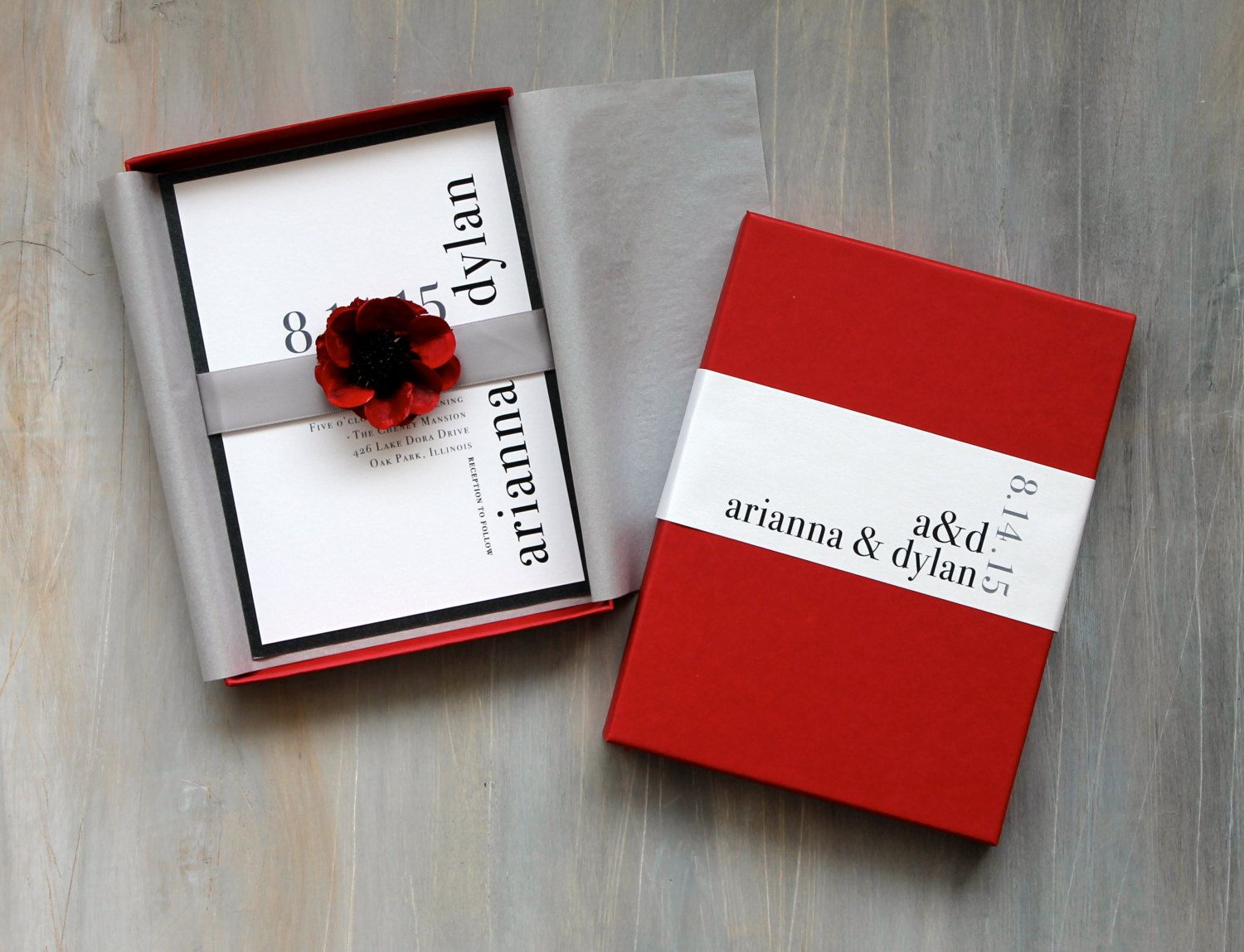 Modern Luxury Box Wedding Invitations, Red Wedding, Elegant Box ...