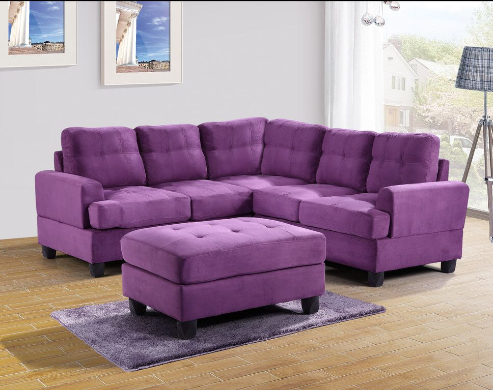 Symmetrical Sectional With Images Sectional Sofa Couch Purple