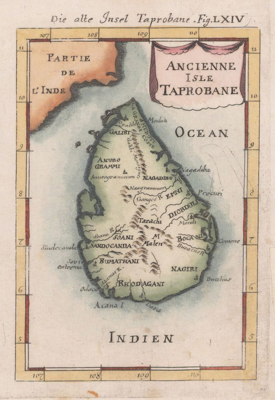 Decorative Bird S Eye View Of The Island Of Sri Lanka Ceylon With The Neighbouring Coast Of India With Sever History Of Sri Lanka Ancient Maps Ancient Names