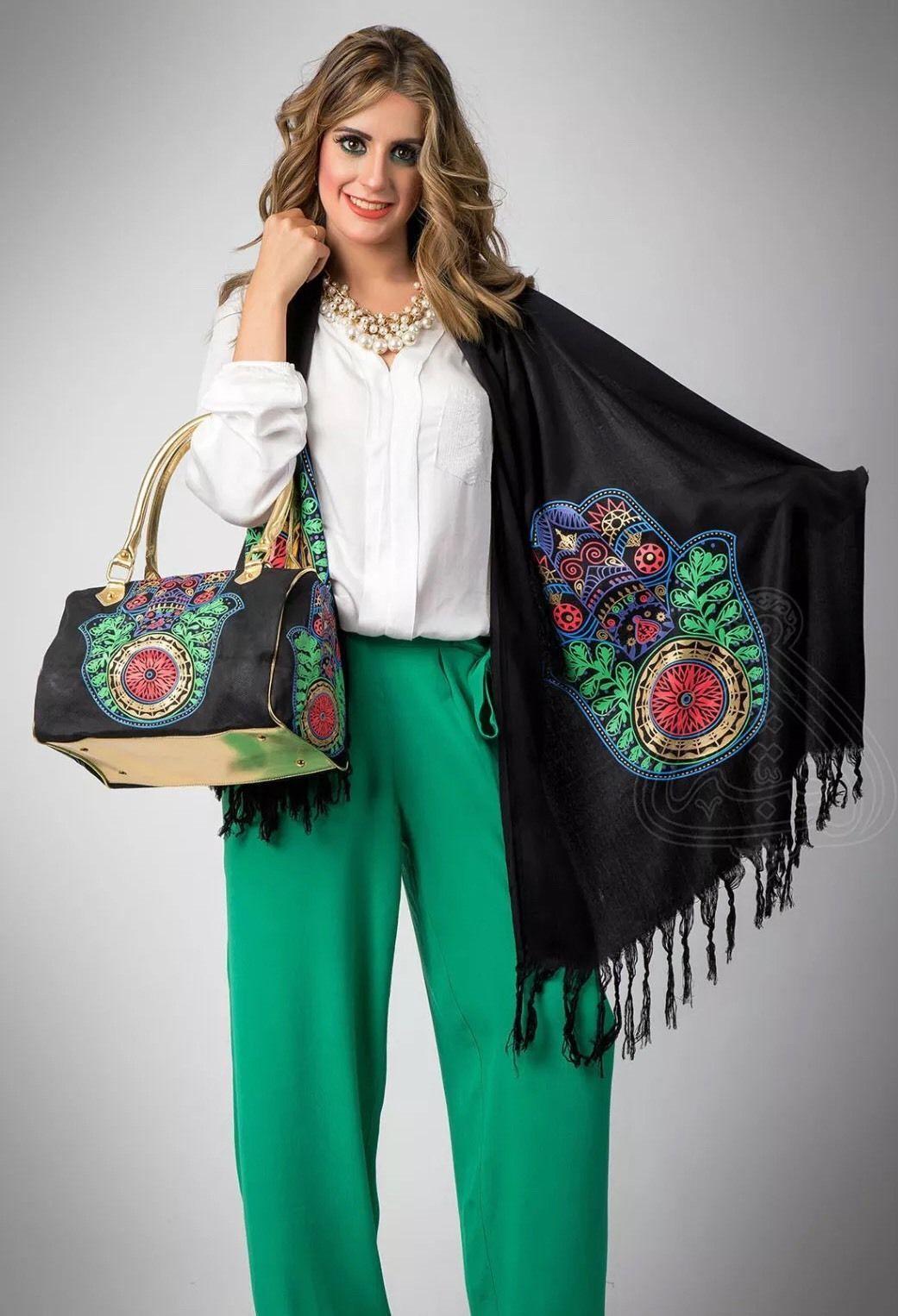 Superb Set Of Bag And Shawl Scarf Fatima Hand Khamssa Arabic Jewish Khomssa