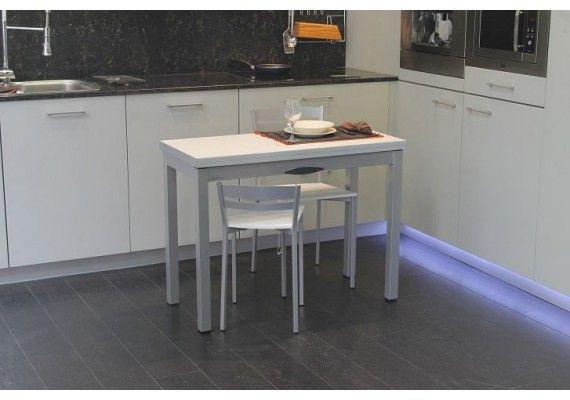 Mesa de cocina estrecha delibro extensible a 100x90, con cajón y ...