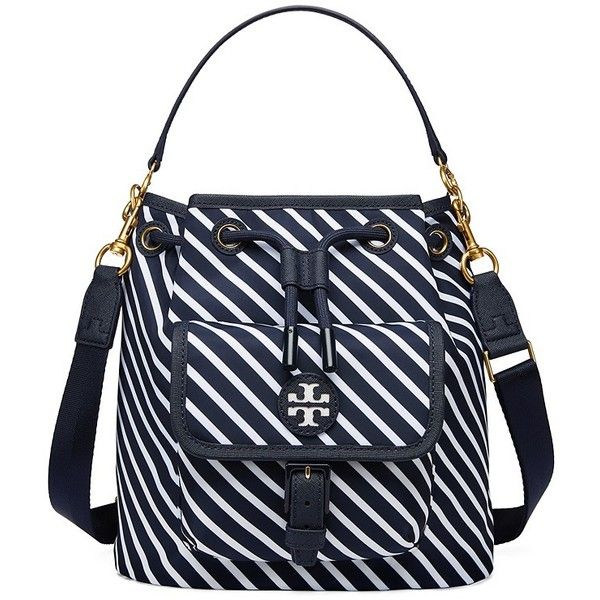 44b3f368c28e Tory Burch Scout Stripe Drawstring Cross-Body (340 CAD) ❤ liked on Polyvore  featuring bags