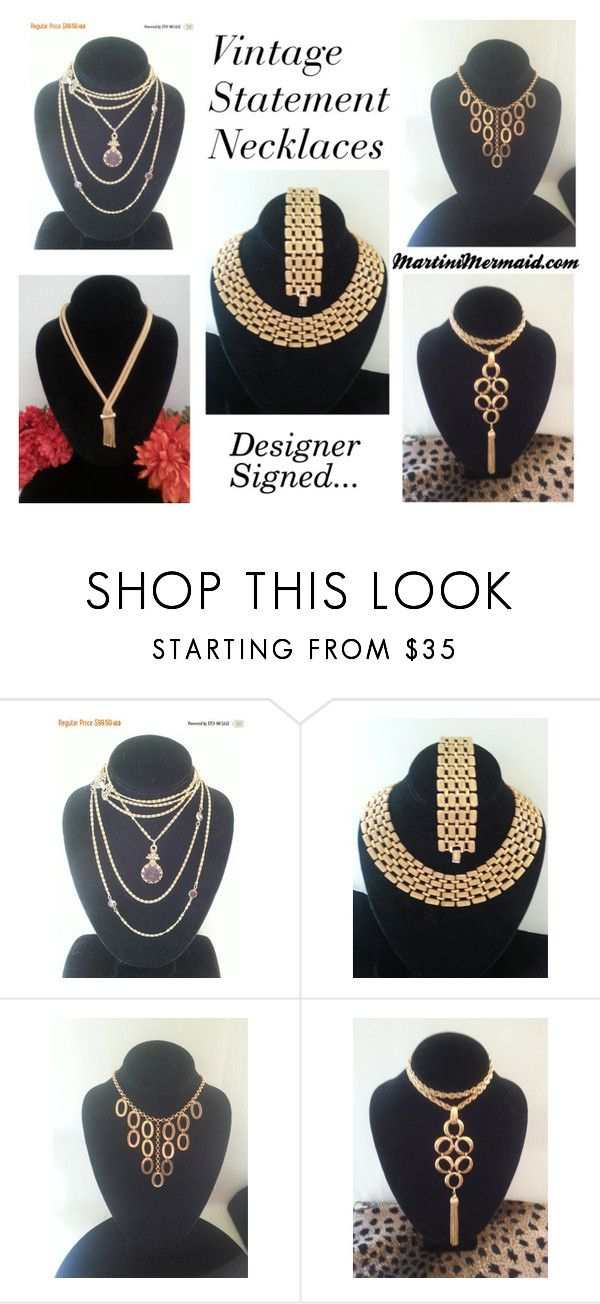 """Statement Necklaces"" by martinimermaid ❤ liked on Polyvore featuring Goldette, Napier and Trifari"