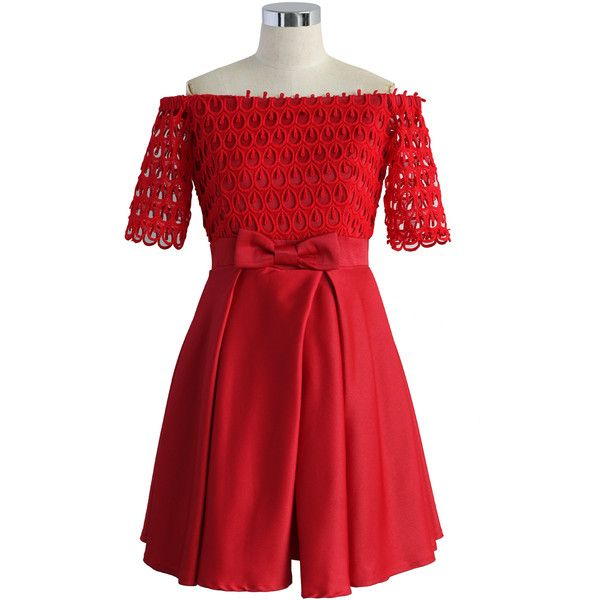 Chicwish Drops of Flair Red Dress ($68) ❤ liked on Polyvore featuring dresses, red, short dresses, embellished short dresses, zipper back dress, red bow dress and bow dress