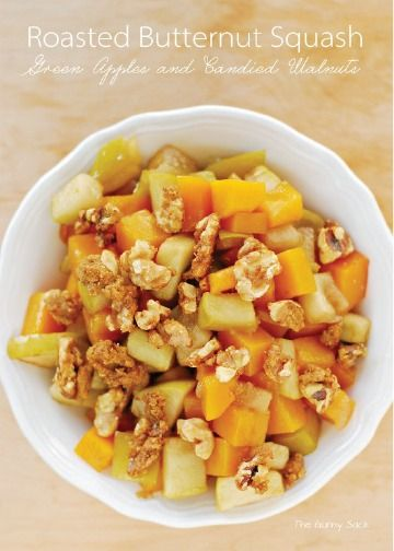 Roasted Butternut Squash with Green Apples and Candied Walnuts is a delicious and easy side dish recipe. This is a sweet and healthy option to pair with your favorite main dinner entree.