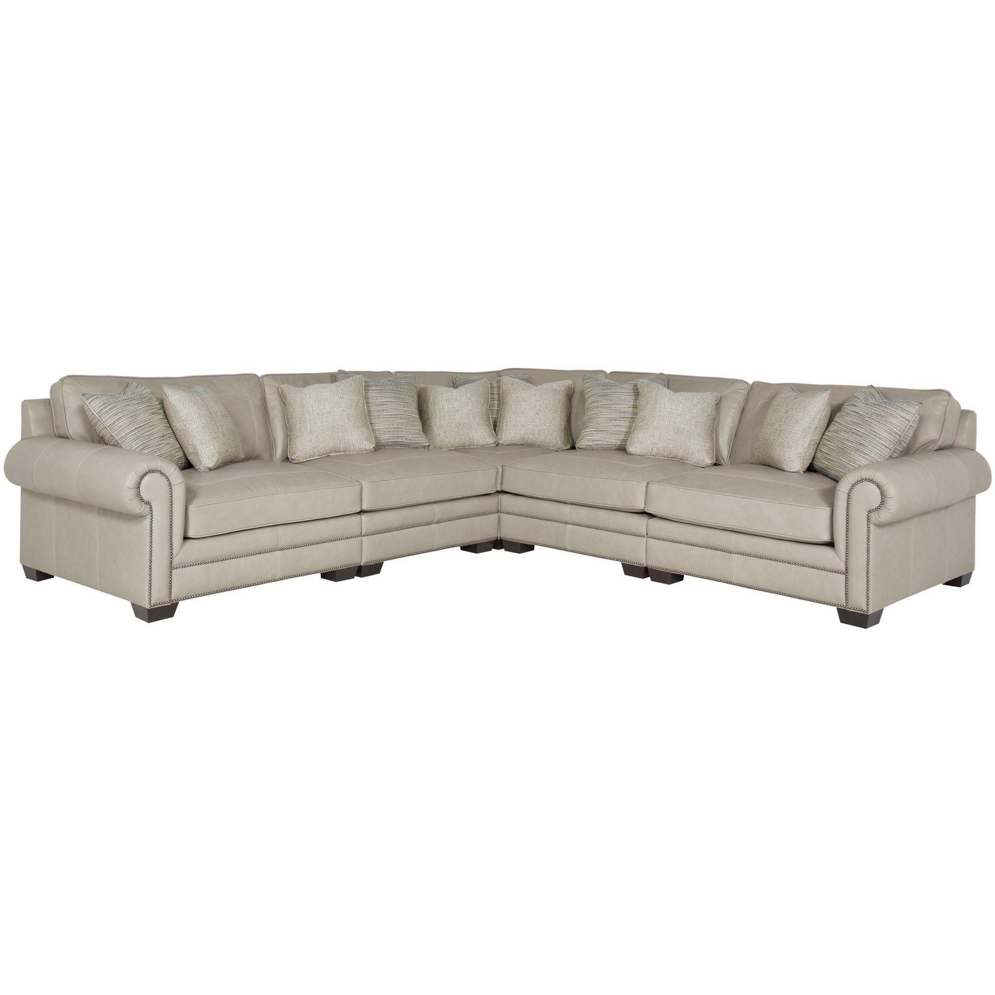 Bernhardt Interiors Grandview 7230l 7232l 7235l 7236l Transitional Sectional Sofa With Nailhead Trim Baer Modular Sectional Leather Sectional Sectional