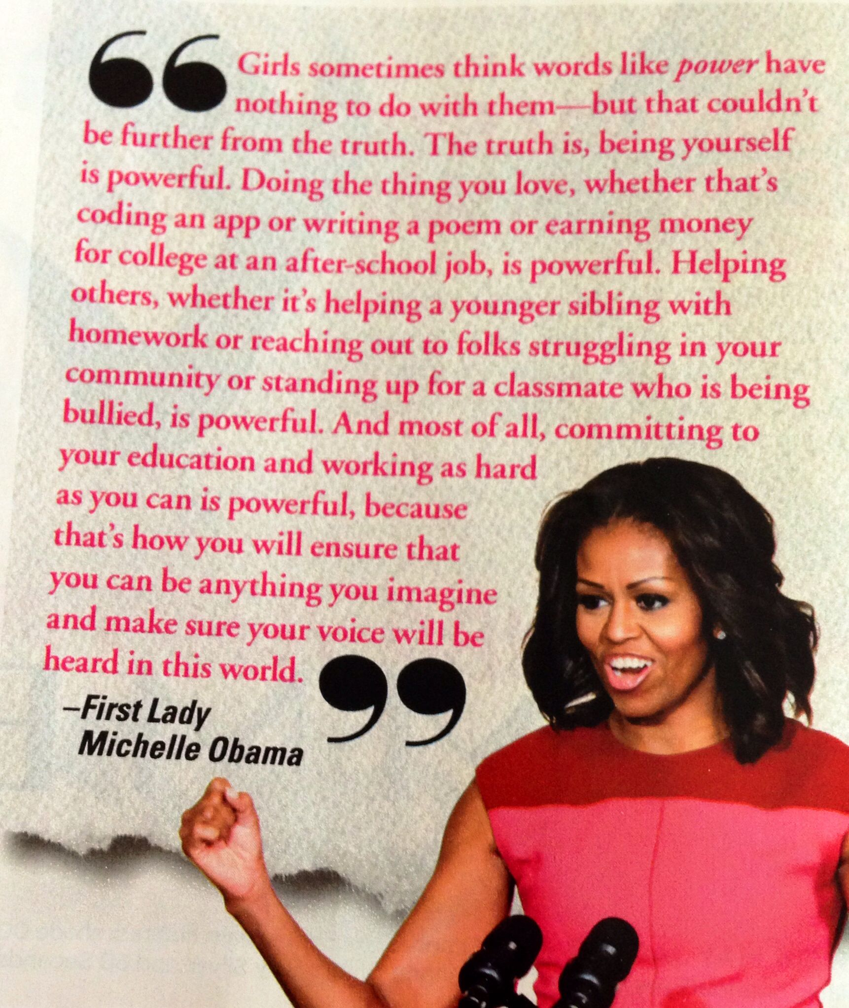 Michelle Obama Quote Ywoeideas Pinterest Michelle Obama Quotes