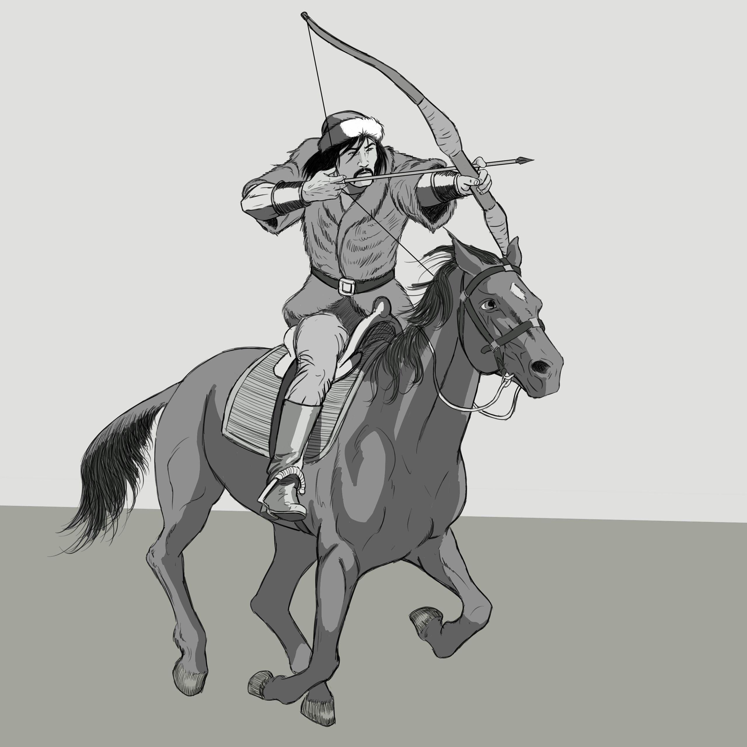 Atli Okcu Archer Turk Askeri Asian Warrior Suvari Savascilar Sanat Cizim