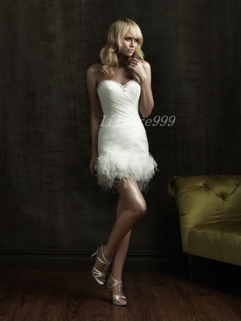 Cocktail dresses wedding  Sexy Short Bridal Gown Bridesmaid Dresses feather dress size