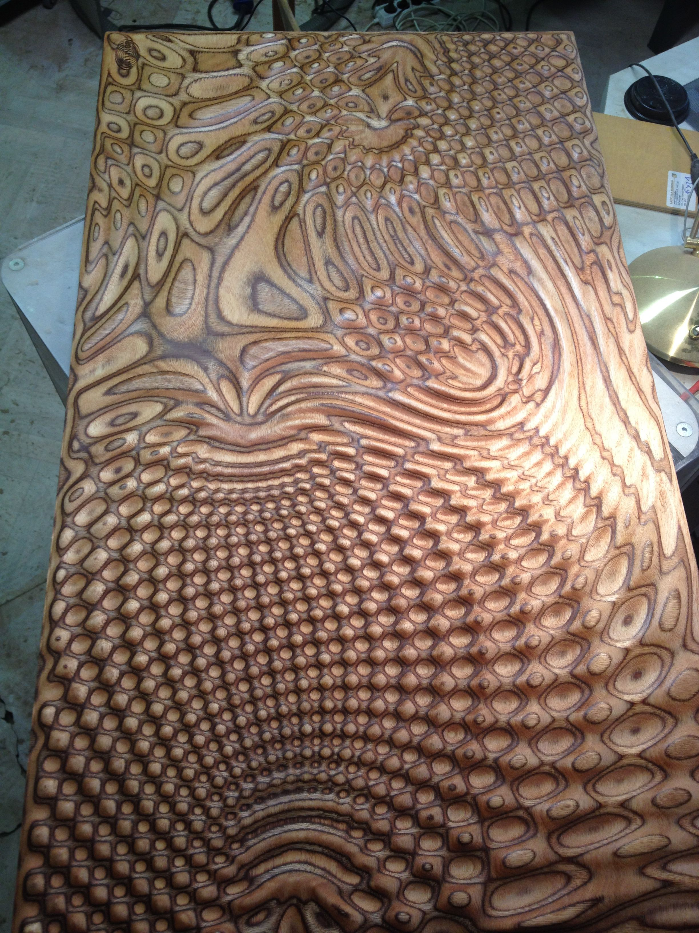 milled plywood field pattern - size 580x1000mm | wood | cnc