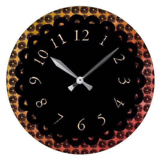 Vintage-The-Art-OfTime-Mod-Floral-Gold Square Wall Clock