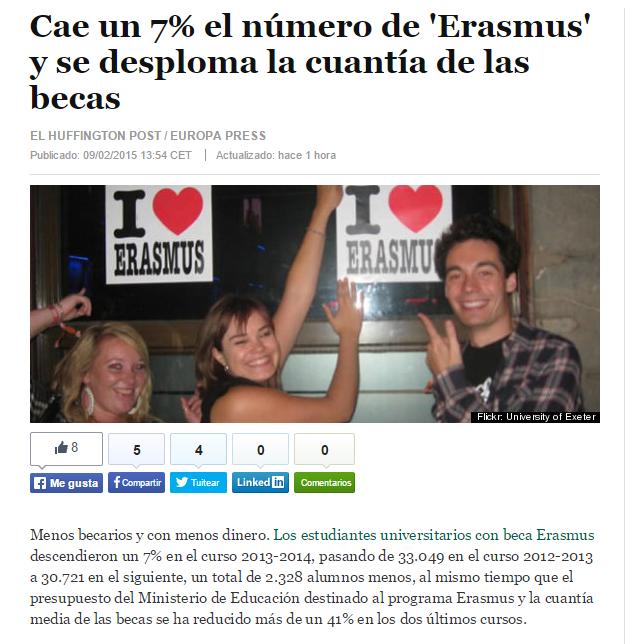 Cae un 7% el número de 'Erasmus' y se desploma la cuantía de las becas / @elhuffpost   #saveerasmus #universidadencrisis