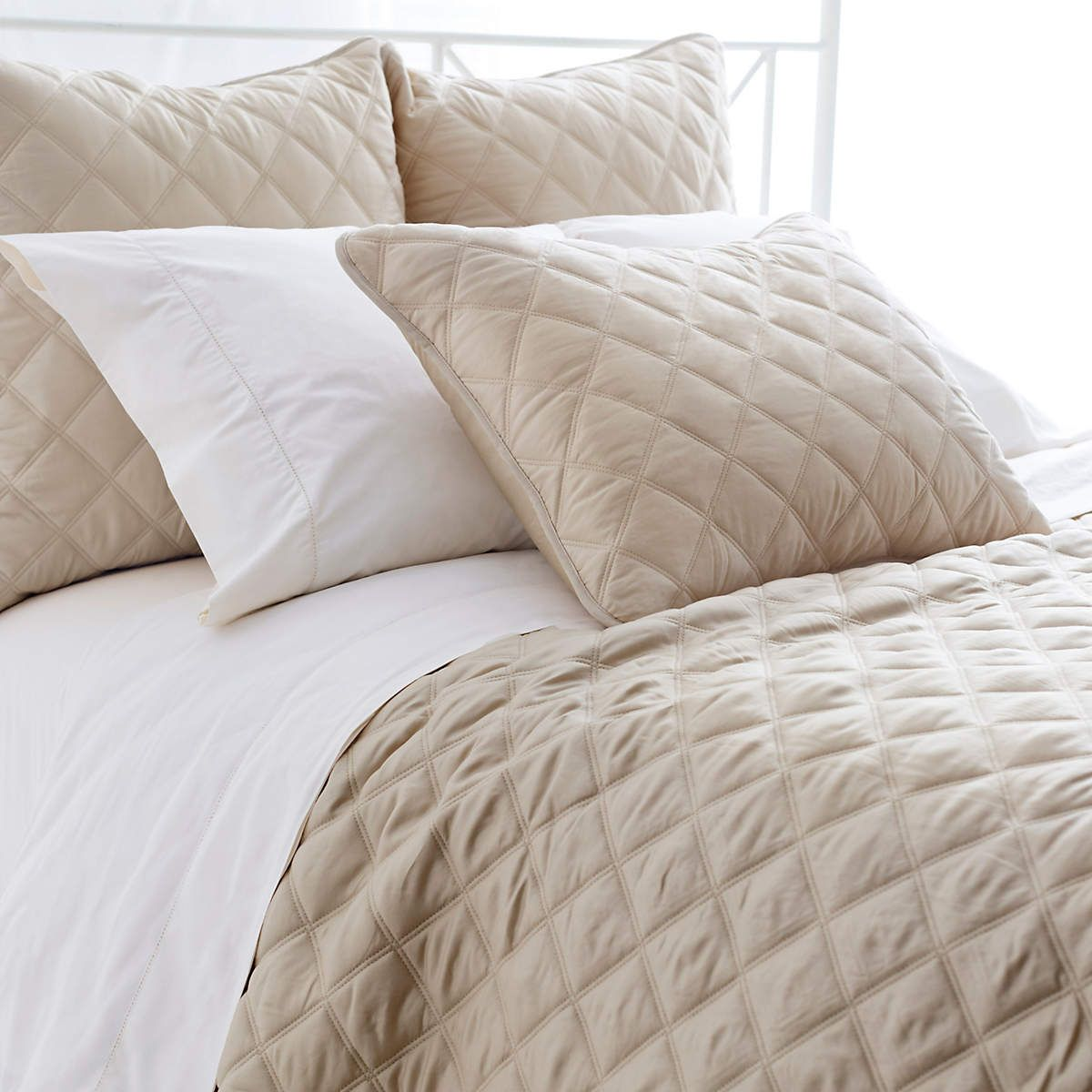 Quilted Silken Solid Sand Coverlet Pine Cone Hill Bed Design