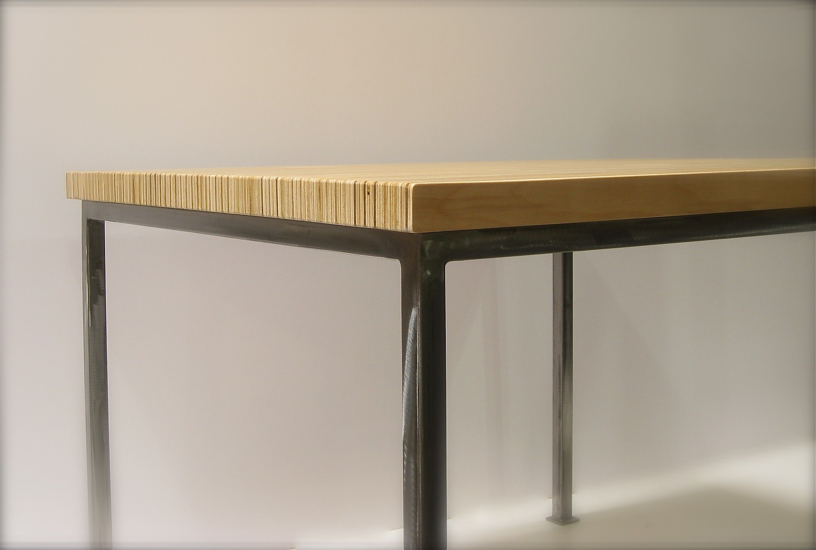 Stacked Plywood Dining Table 42x42 In Steel W Natural By