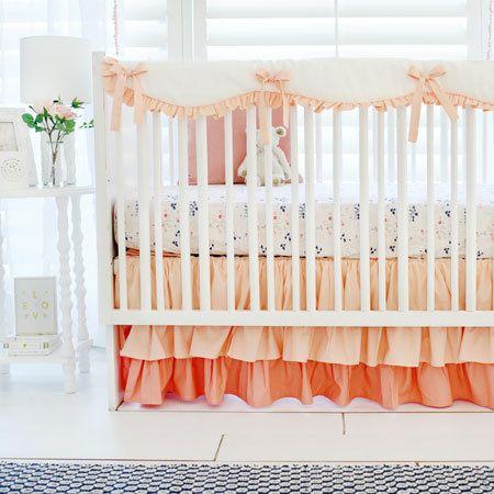Peach Crib Bedding Navy Crib Bedding Baby Bed Floral Baby Bedding