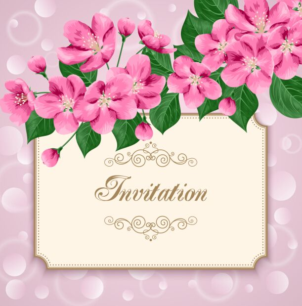 Vintage floral invitation card template 01 A* BEAUTIFUL FRAMES - invitation card formats