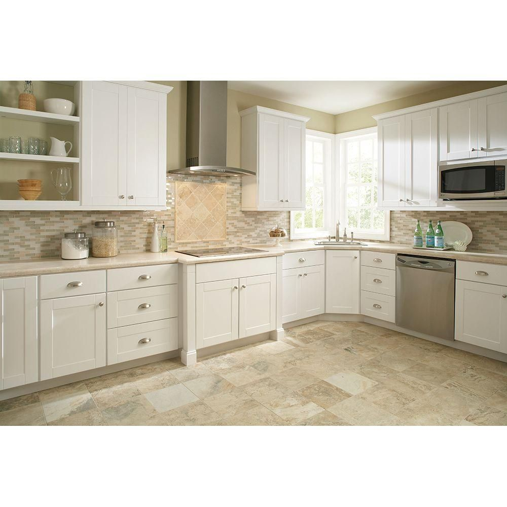 Hampton Bay Assembled 15x36x12 In Shaker Wall Cabinet In Satin White Kw1536 Ssw The Hom White Kitchen Remodeling Home Depot Cabinets Paint For Kitchen Walls