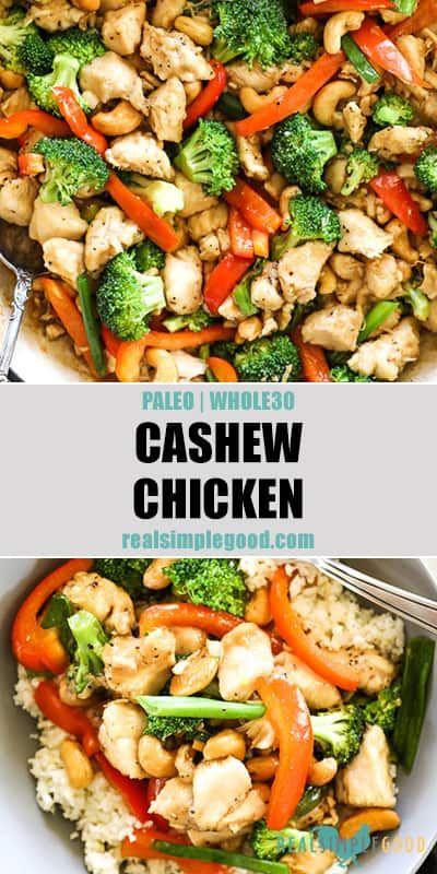 Healthy Cashew Chicken Paleo Whole30 Recipe Healthy Asian Recipes Asian Recipes Whole 30 Recipes