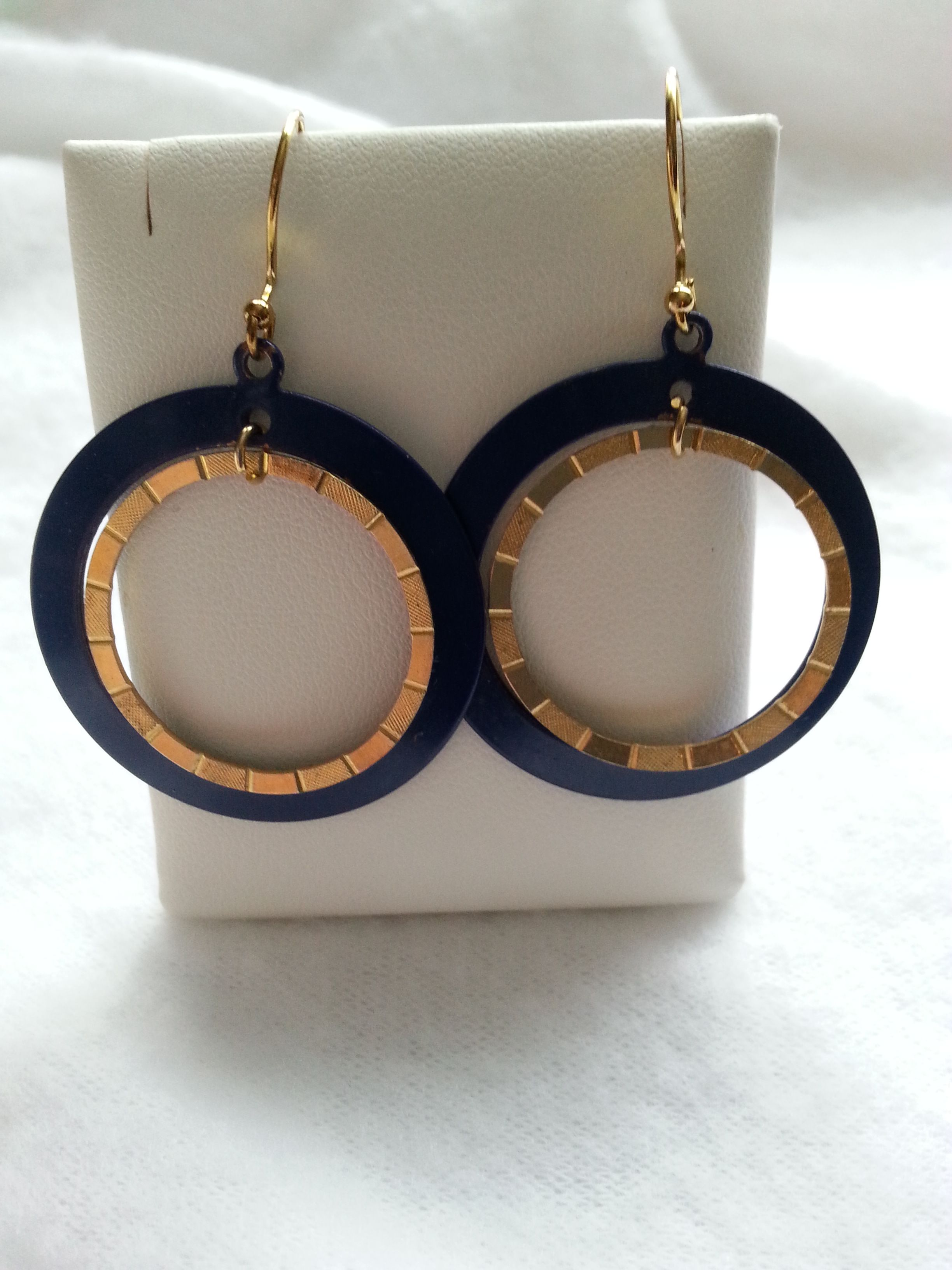 Retro Blue And Gold Metal Hoop Earrings, Women's Jewelry,  Accessories These 60